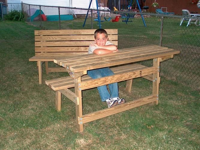 park bench table plans