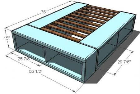 queen size captain storage bed plans